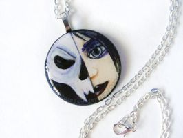 Skull Goth Girl Pendant Necklace by sobeyondthis