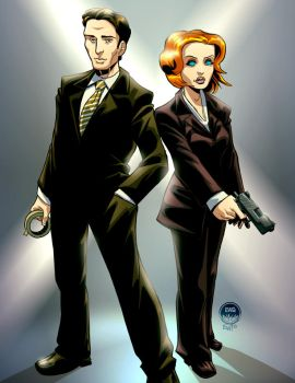 Scully and Mulder - X Files - 2 Char Commish by EryckWebbGraphics