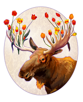 Moose Tulips by apeldille