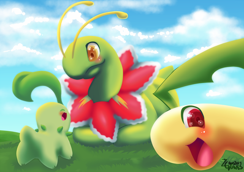 Bayleef's selfie with family! by Z-Graves