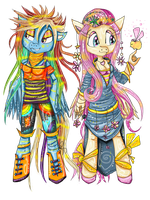 Rainbow Dash and Fluttershy. by LordOfPillowCats