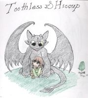 Toothless and Hiccup by AngelicDragonElf
