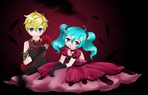 Blood Red - Miku x Len by digitalpastel