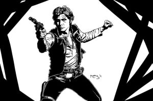 BW Ink Style - Han Solo by resresres