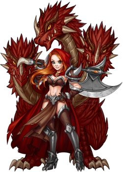 Red Hydra Warrior by AjamariesArt