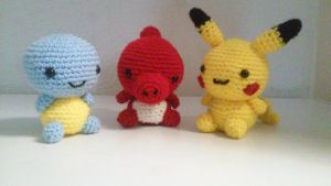 Squirtle, Charmeleon and Pikachu Amigurumi  by namiswan3360