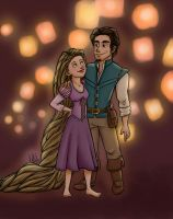 Rapunzel and Flynn by clarkey-lou