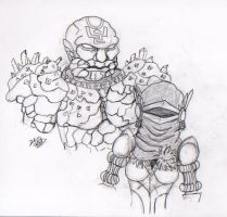 Golem and Godcraft- Lineart by Karlika