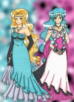 Princess Galatea and Asami by Boundbyribbon