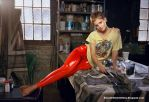 Emma Watson in Red Latex leggings by Andylatex