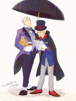 Scrooge McDuck and Duckworth by chacckco