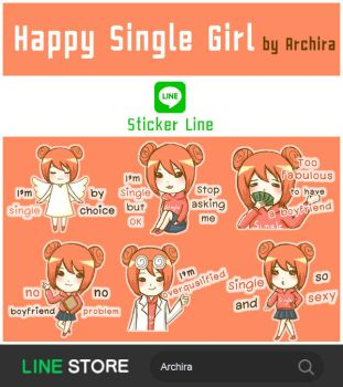 Stickers for LINE app : Happy Single Girl by r-kira