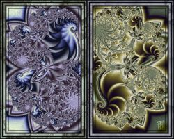 silver and Gold diptych by TSHansen