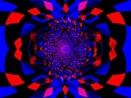 Red and Blue Abstract by JanetAteHer