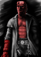 Hellboy- Black, White and RED by rikusumi