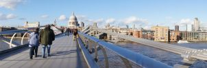 London's Millenium Bridge panoramic by Greattie