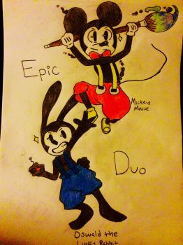 Mickey and Oswald by midnightrose1520