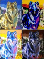 my wolf painting in four different colors by Kut21