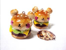 kawaii burger bear by KPcharms