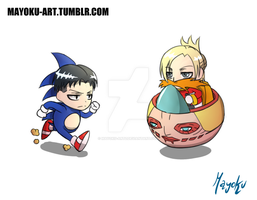 Levi the headhog vs Dr EggAnnie by mayoku-artz