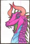 Neon Dragon Doodle by Abwettar