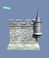 Castle Stock Parts #33 corner wall closed tower by madetobeunique
