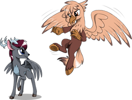 Peryton and Hippogriff by Sirzi
