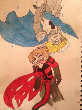 Shadow knight and one of the jury of nine  by luver-of-anime3