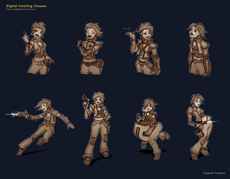 Emotions and Poses Study by sirotaga