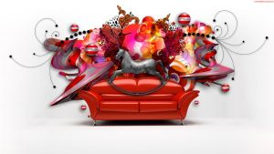 Horse on Red Couch by StarwaltDesign