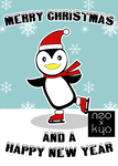 Ice Skating Penguin Christmas card by NeoKyoStudio