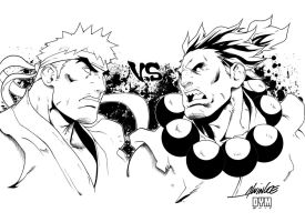 Evil Ryu vs Akuma INK by dymartgd