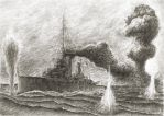 Destruction of HMS Queen Mary by JanBoruta