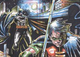 Batman And Robin Sketch Card by warpath28
