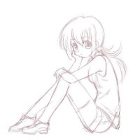 Sketch of the sitting girl by chindefu