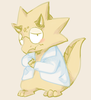 Alfred (genderbent Alphys) by thegreatrouge