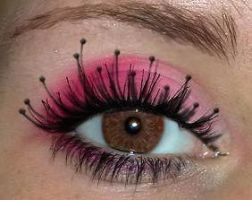 pink and weird eye lashes by itjustafeeling