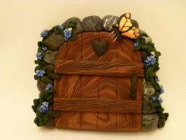 Cheerful Springtime Fairy Door by FlyingFrogCreations