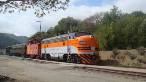 WP F7A pulling in by BNSF
