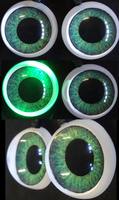 green 3D LED painted eyes by DreamVisionCreations