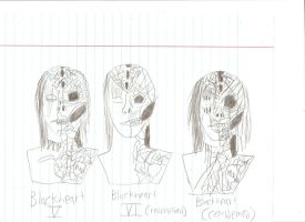 Blackheart masks evolution rough sketch pt 2 by BlackheartChimera13