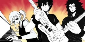 Rock Band: Gray, Juvia and Gajeel by Chsabina