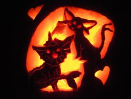 Espeon and Vaporeon Pumpkin by EeveeQueenJigglypuff