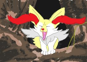 Braixen yawning in its den by Tashiyoukai