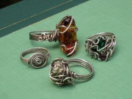 Wire Wrapped Ring Collection by AniqueDesigns