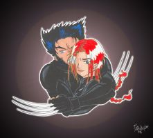 X-men _ Jean and Wolvie by IslaDelCoco