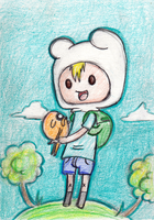 Finn and Jake mini art card by About12Kittens