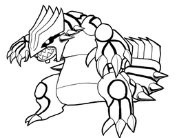 Groudon lineart by EquidnaRojo