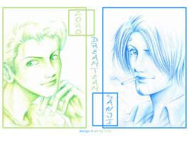 Sanji and Zoro for Conny by x-TOM-x