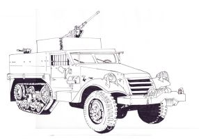 M3 Half Track (Ink Fill) by Muerphy